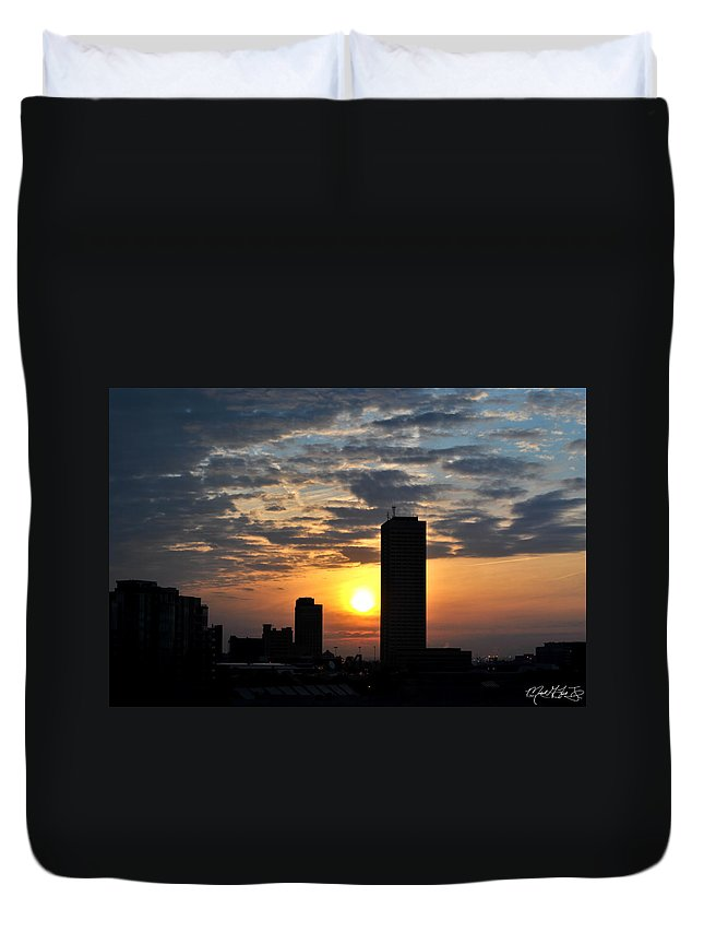 Sunrise Duvet Cover featuring the photograph Sunrise Silhouette Buffalo Ny V1 by Michael Frank Jr