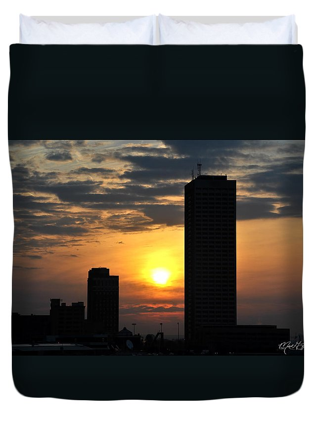Sunrise Duvet Cover featuring the photograph Sunrise Silhouette Buffalo Ny V2 by Michael Frank Jr