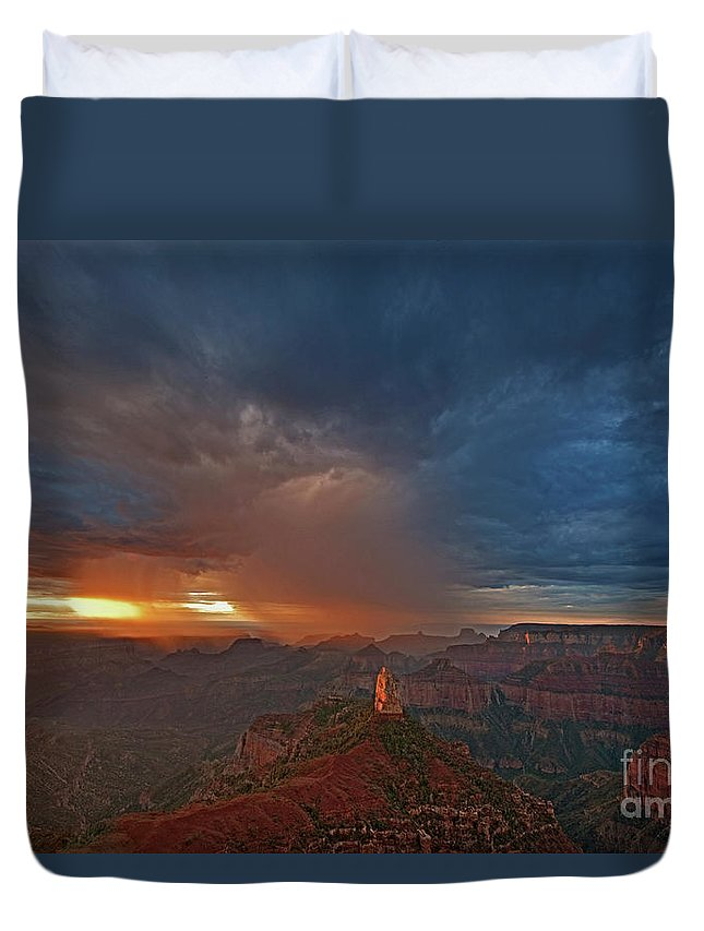 North America Duvet Cover featuring the photograph Sunrise Storm North Rim Grand Canyon Arizona by Dave Welling