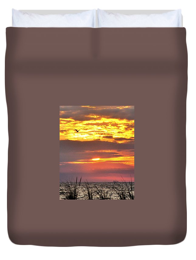 Rehoboth Duvet Cover featuring the photograph Sunrise Through The Grass by Kim Bemis