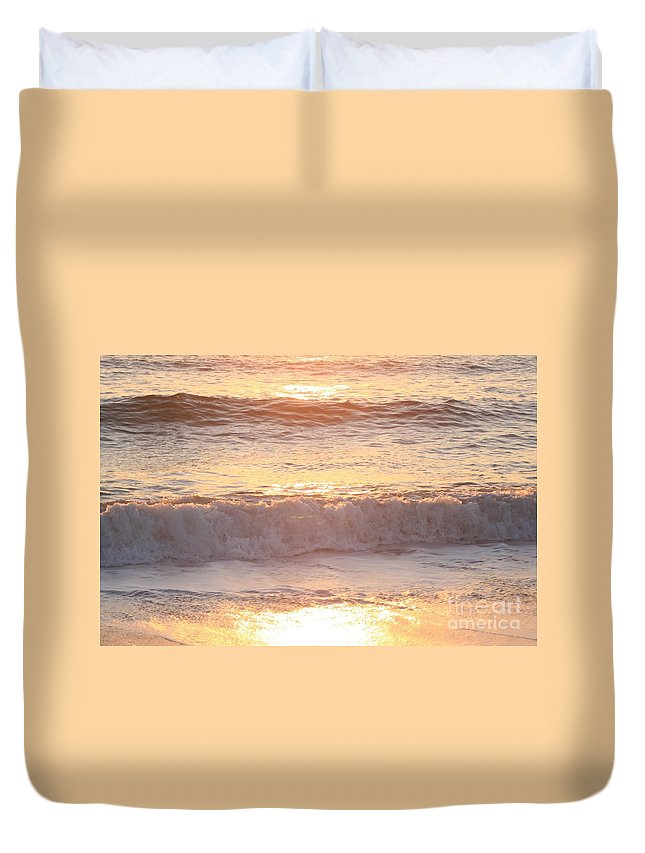 Waves Duvet Cover featuring the photograph Sunrise Waves by Nadine Rippelmeyer
