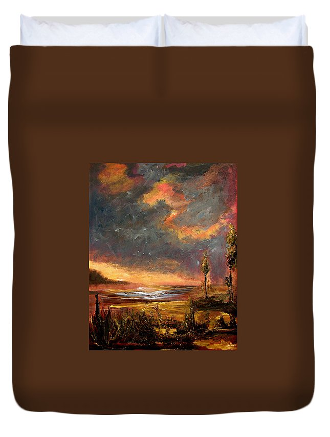 Original Duvet Cover featuring the painting Sunrise With Birds by Julianne Felton