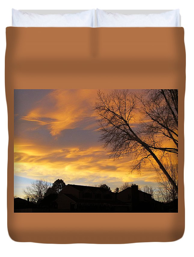 Sunset Duvet Cover featuring the photograph Sunset 3 by Becca Buecher