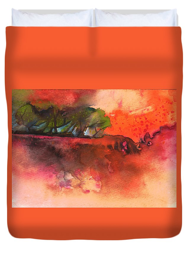 Aquarelle Duvet Cover featuring the painting Sunset 51 by Miki De Goodaboom