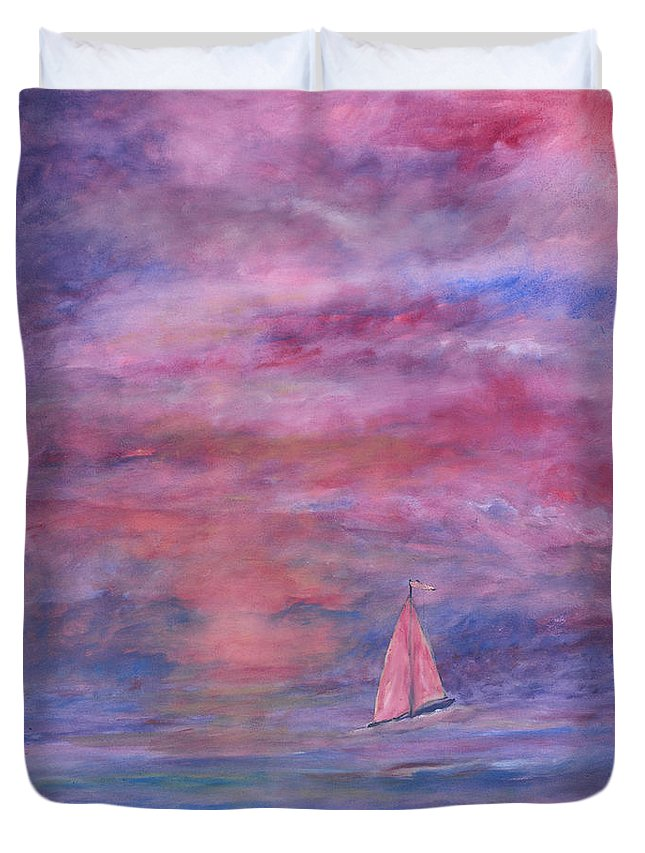 Saling Duvet Cover featuring the painting Sunset Adventure by Ben Kiger