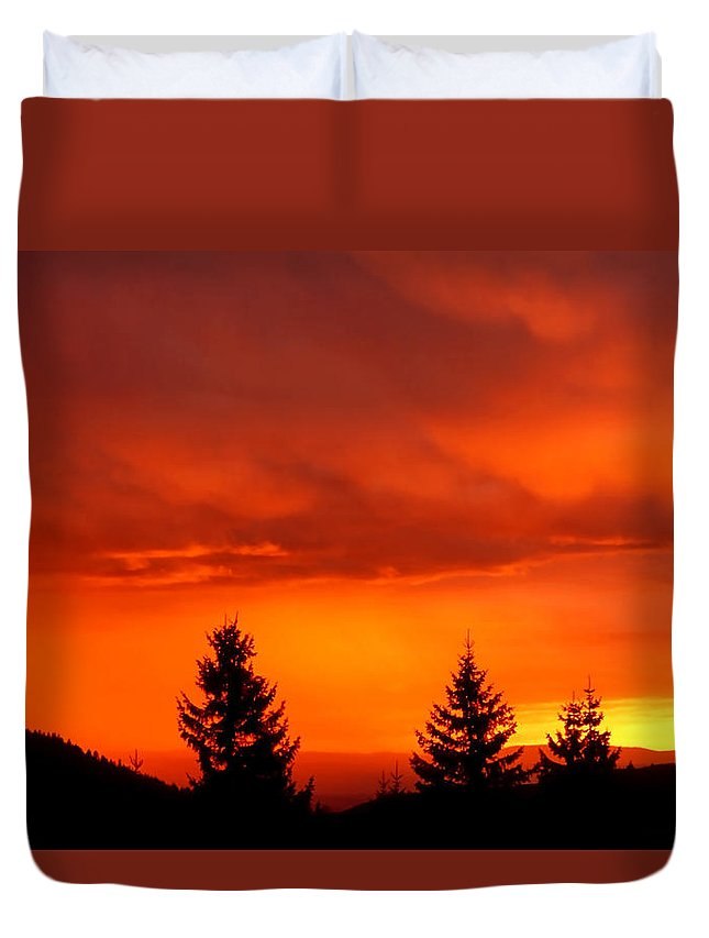 Sunset Duvet Cover featuring the photograph Sunset And Fir Trees by Patrick Kessler