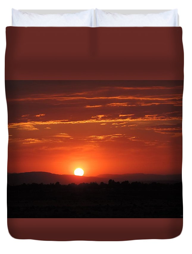 Sunset Duvet Cover featuring the photograph Sunset Antelope Valley B 7-28-2014 by Enaid Silverwolf