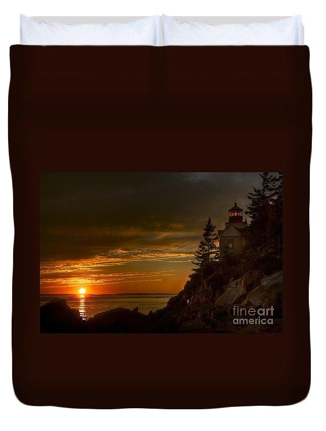 Acadia National Park Duvet Cover featuring the photograph Sunset At Bass Harbor Lighthouse by Oscar Gutierrez