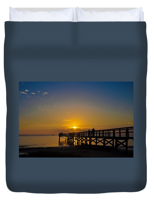Sunset Duvet Cover featuring the photograph Sunset At Crystal Beach Pier by Bill Cannon