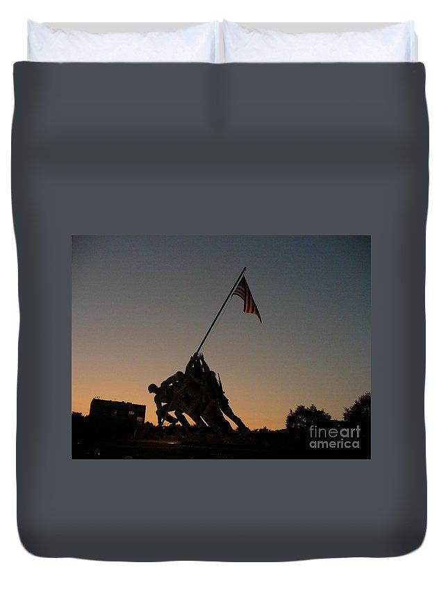 Flag Raising Duvet Cover featuring the photograph Sunset At Iwo Jima by Lingfai Leung