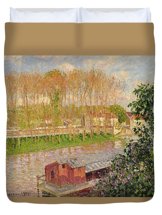 Signed Duvet Cover featuring the painting Sunset At Moret Sur Loing by Camille Pissarro