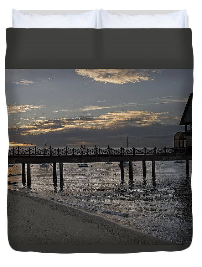 Sunset Duvet Cover featuring the photograph Sunset At The Beach by David Gn
