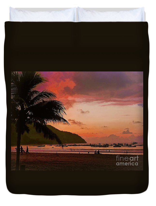 Julia Springer Duvet Cover featuring the photograph Sunset At The Beach - Puerto Lopez - Ecuador by Julia Springer