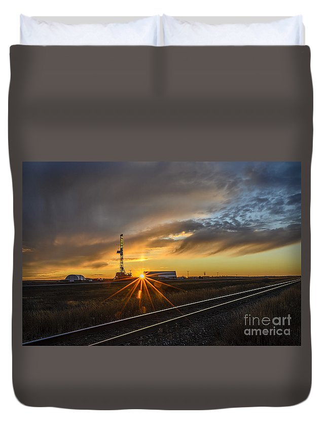 Sunset Duvet Cover featuring the photograph Sunset At The Edge Of Oil Rigs by Viktor Birkus