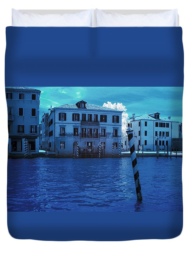 Horizontal Duvet Cover featuring the photograph Sunset At The Hotel Canal Grande Venice Italy Near Infrared Blue by Sally Rockefeller