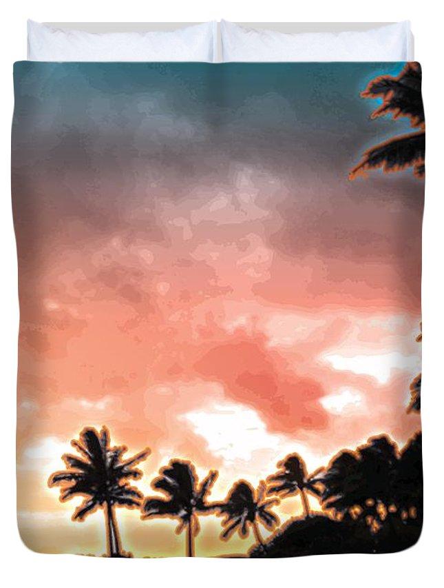 Abstract Duvet Cover featuring the digital art Sunset Beach by James Kramer