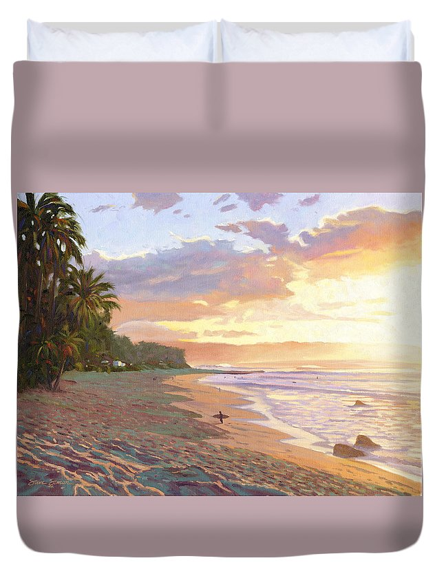 Sunset Beach Duvet Cover featuring the painting Sunset Beach - Oahu by Steve Simon