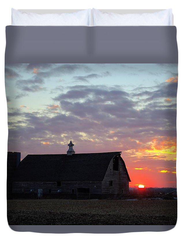 Sunset Duvet Cover featuring the photograph Sunset By The Barn 2 by Bonfire Photography