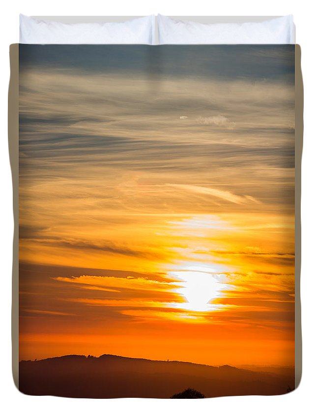Sunset Duvet Cover featuring the photograph Sunset by Ernesto Santos