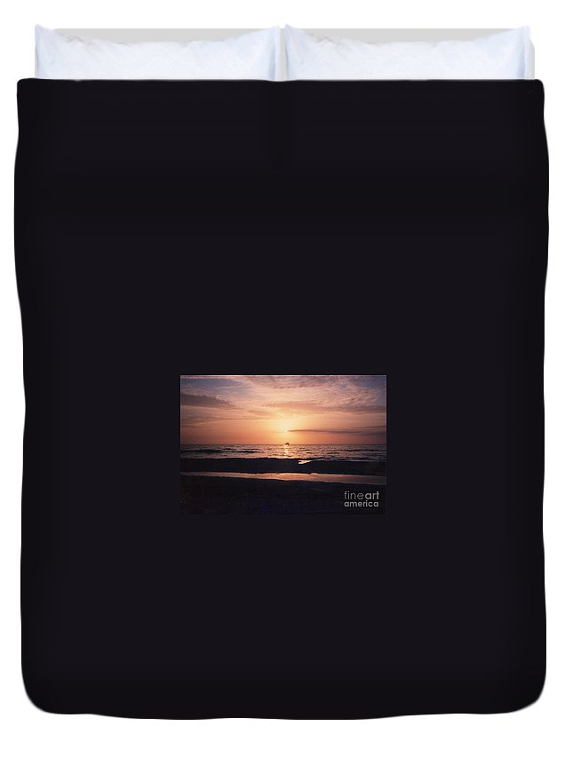 Sunset Duvet Cover featuring the photograph Sunset From Clearwater Beach by Lora Duguay