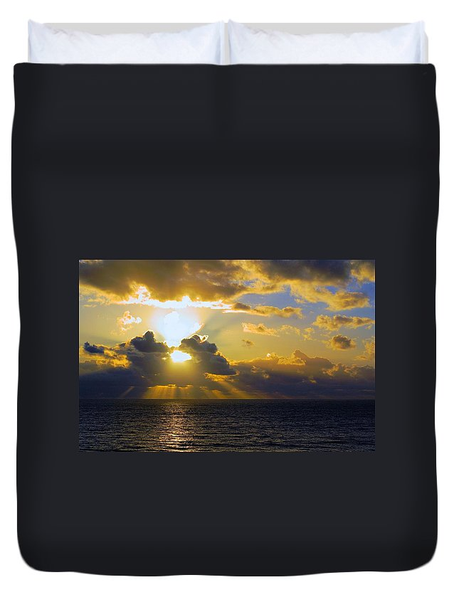 Gower Duvet Cover featuring the photograph Sunset From The Mumbles by Ron Harpham