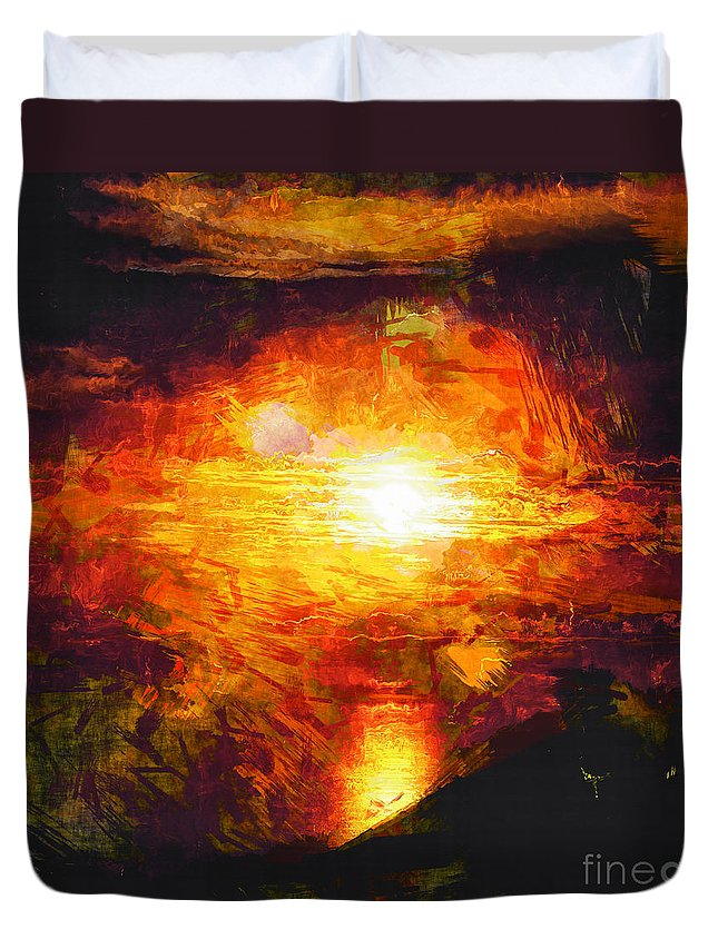 Sunset Duvet Cover featuring the photograph Sunset Glory by Davy Cheng