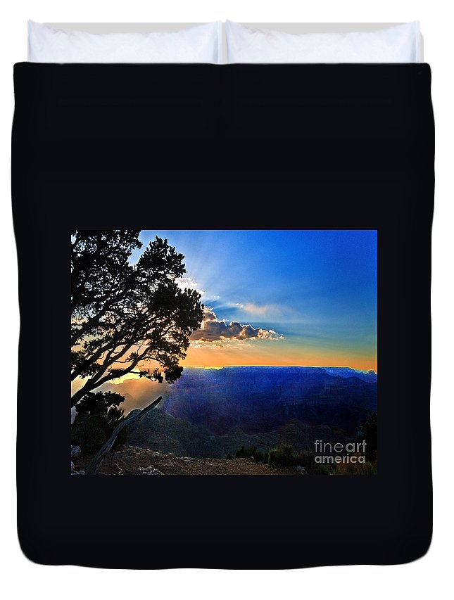 Arizona Duvet Cover featuring the photograph Sunset Grand Canyon by Bob and Nadine Johnston