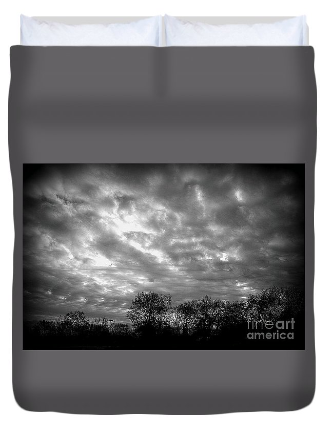 Sunset With Clouds Duvet Cover featuring the photograph Sunset In Black And White by Kitrina Arbuckle