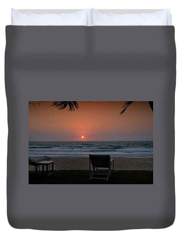Arabian Sea Duvet Cover featuring the digital art Sunset In Goa by Carol Ailles