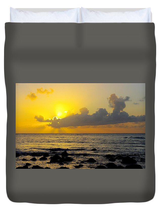 Sunset Duvet Cover featuring the photograph Sunset In Kauai by John Greaves