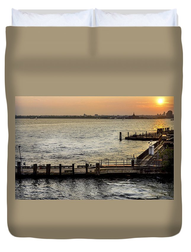 Pier Duvet Cover featuring the photograph Sunset In Manhattan Pier by Maria isabel Villamonte