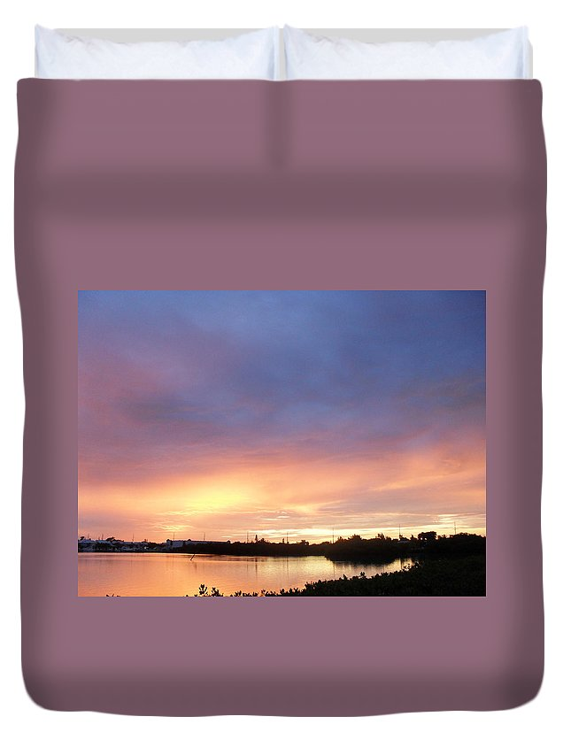 Sunset Duvet Cover featuring the photograph Sunset In Marathon Key by Sheryl Chapman Photography