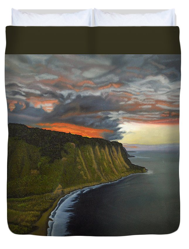 Waipio Lookout Duvet Cover featuring the painting Sunset In Paradise by Thu Nguyen