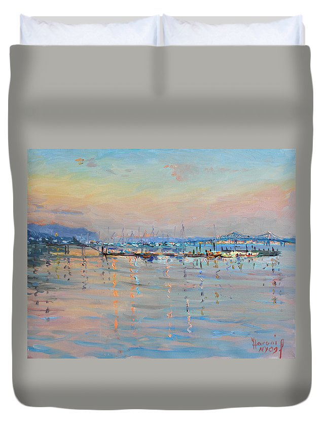 Seascape Duvet Cover featuring the painting Sunset in Piermont Harbor NY by Ylli Haruni