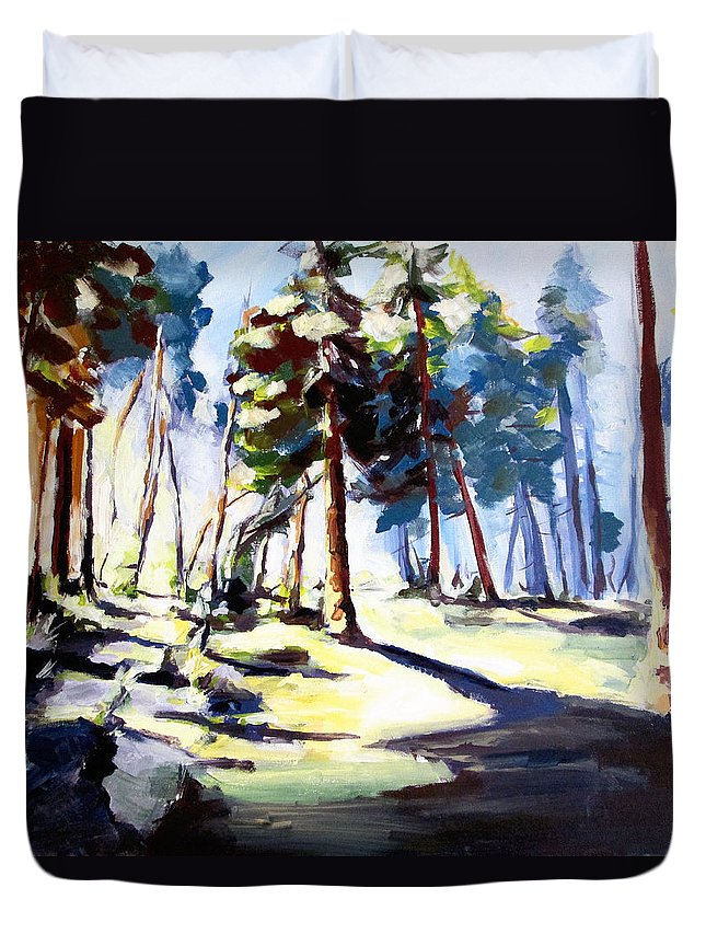Sunset Duvet Cover featuring the painting Sunset In The Forest by Zlatko Music