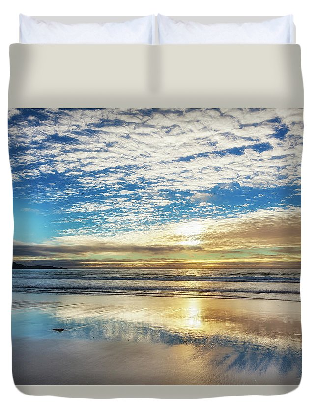 Tranquility Duvet Cover featuring the photograph Sunset On Carmel Beach, California by Alvis Upitis
