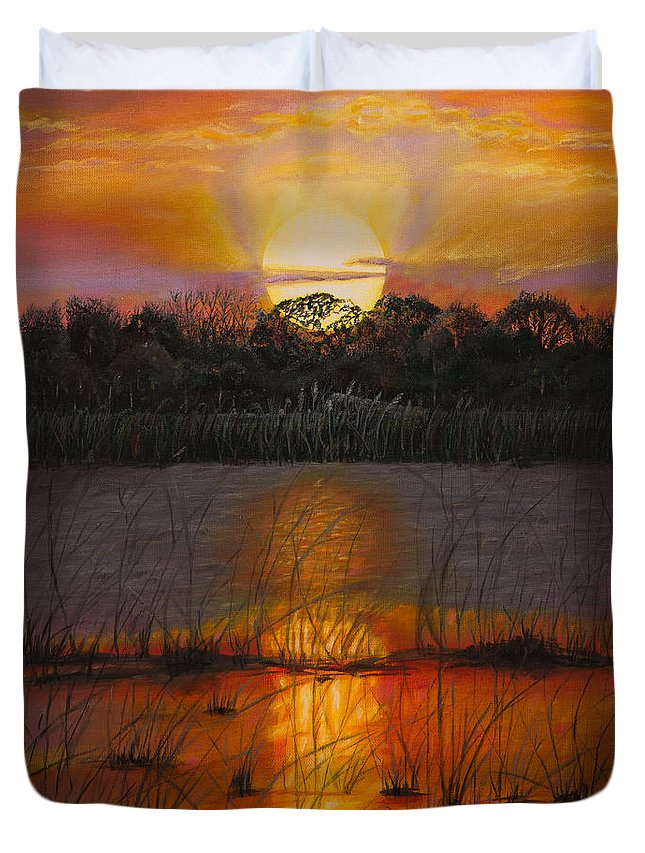 Painting Duvet Cover featuring the painting Sunset On Florida's Lake by Zina Stromberg