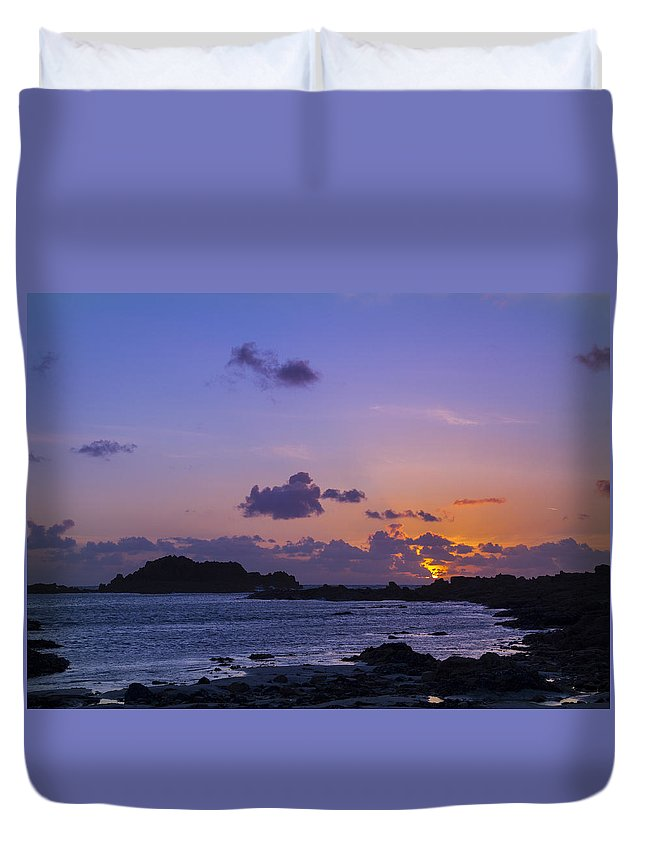 Sunset Duvet Cover featuring the photograph Sunset On Guernsey by Chris Smith