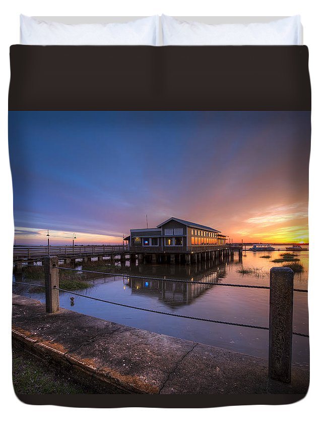 Boats Duvet Cover featuring the photograph Sunset on Jekyll Island by Debra and Dave Vanderlaan