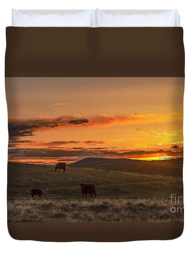Range Duvet Cover featuring the photograph Sunset On Open Range by Robert Bales