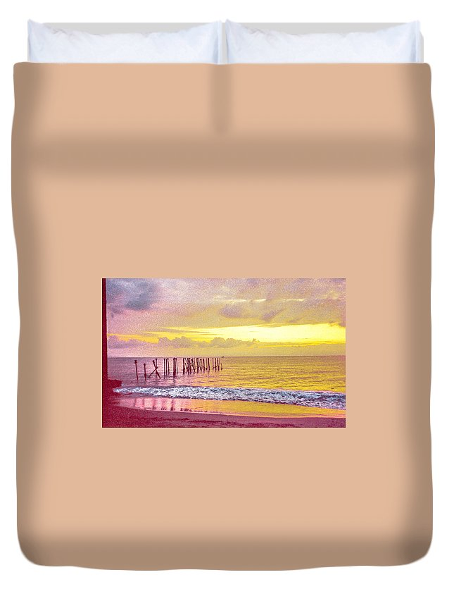 Sunset Duvet Cover featuring the photograph Sunset On Tahiti by Pete Hendley