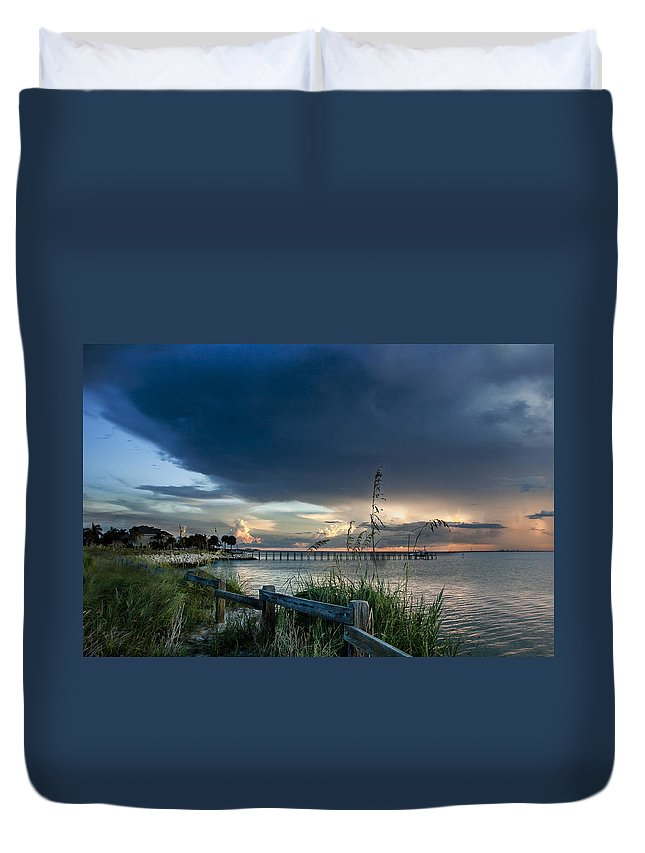 Sunset Duvet Cover featuring the photograph Sunset on Tampa Bay by Norman Johnson