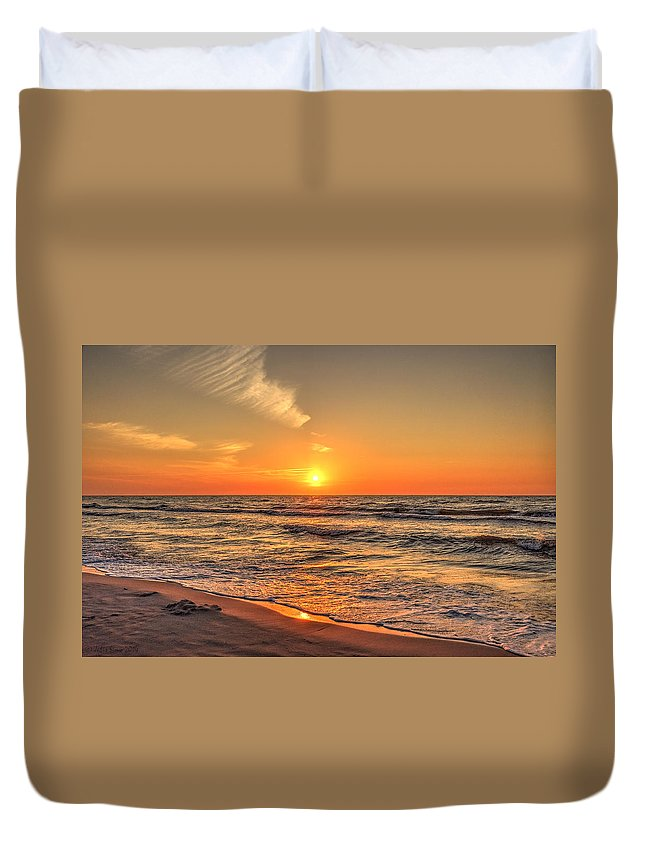 Baltic Sea Duvet Cover featuring the photograph Sunset On The Baltic Sea Beach Of Leba In Poland by Julis Simo