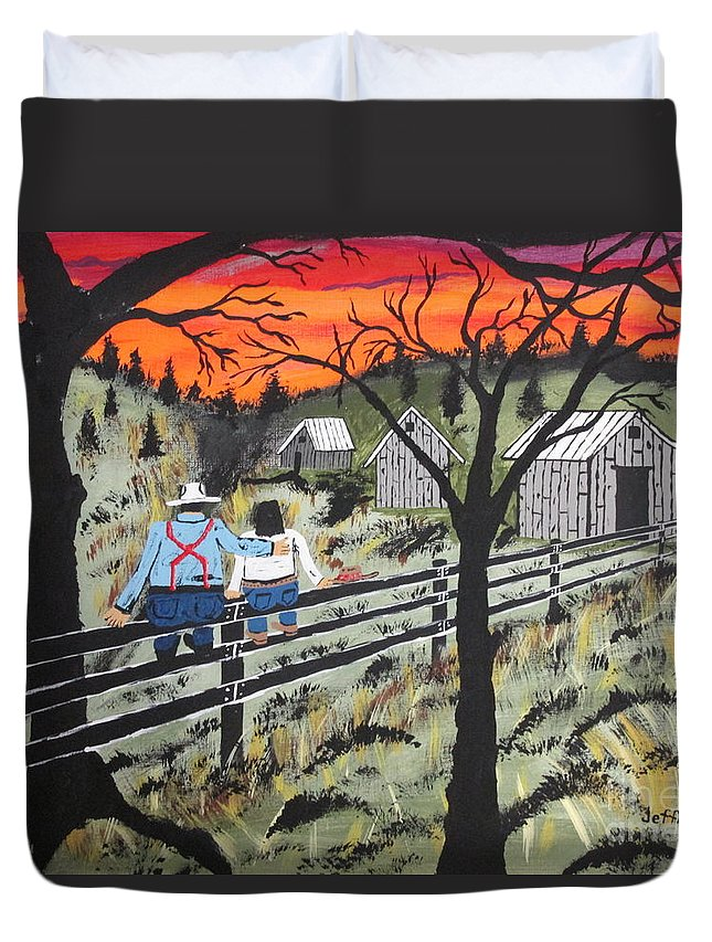 Beautiful Sky Duvet Cover featuring the painting Sunset On The Fence by Jeffrey Koss