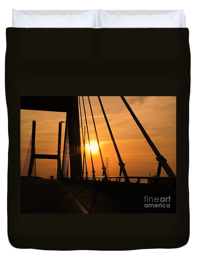 Sunset Duvet Cover featuring the photograph Sunset On The High Rise by Michelle Powell