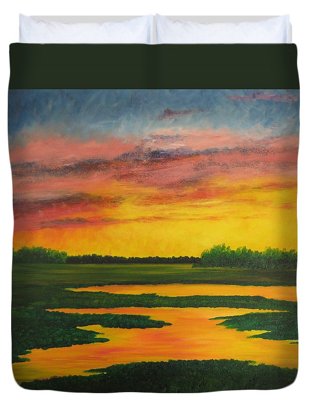 Water Duvet Cover featuring the painting Sunset On The Marsh by Darla Brock