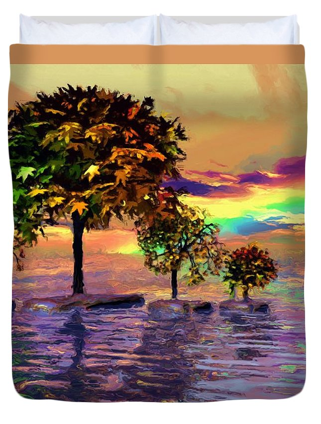 Trees Duvet Cover featuring the painting Sunset On Trees And Ocean by Susanna Katherine
