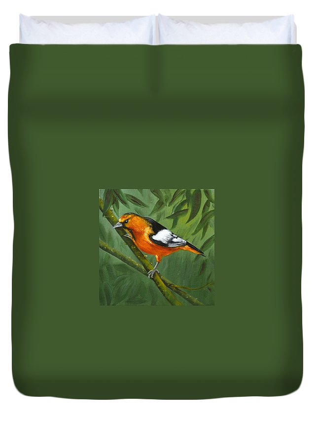 Oriole Painting Duvet Cover featuring the painting Sunset Orange by Sherry Cullison