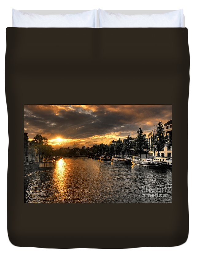 Amsterdam Duvet Cover featuring the photograph Sunset Over Amsterdam by Rob Hawkins
