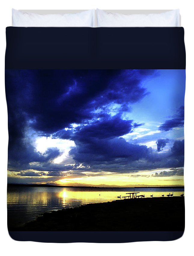 Sunset Duvet Cover featuring the photograph Sunset Over Aurora II by Ric Bascobert